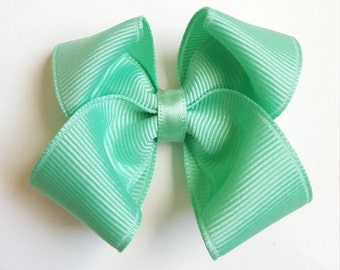 mint green hair bow--baby toddler girls--2.5 inch hair accessories by bows for show