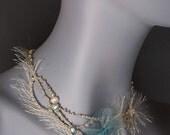 Bocho Necklace. Unique pearl bijoux. Baroque pearl beach necklace. Beautiful linen and pearls jewelry. Beaded linen and pearls jewelry.