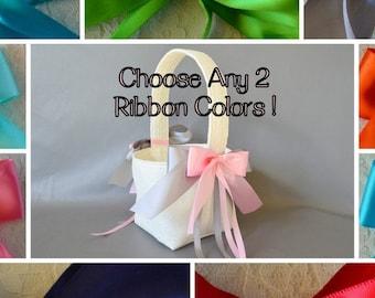 IVORY lace wedding flower basket, YOU CHOOSE any 2 ribbon colors!