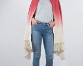 Wool handwoven scarf, Ruby ombre Hand dyed pashmina, Merino wool dip dye shawl, Boho layers