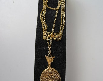 Art Deco Gold Filigree Double Strand Flower Locket Necklace