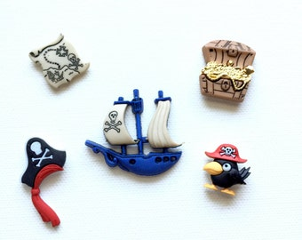 Pirate Magnet Set - Kids Room Decor - Pushpins, Refrigerator - Party Favor Magnet  - Fridge - Super Strong Neodymium