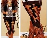 Stretchy Cotton Leggings -Slashed  Womens leggings - Cut Up Leggings