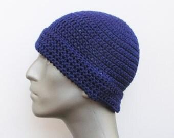 Winter Beanie Hat for Kids, Crochet Hat in Dark Blue, Small Hat Blue