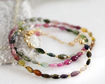 Tourmaline Necklace -  October Birthstone Necklace - Tourmaline Jewelry - Multi Color Necklace - Gemstone Beaded Necklace
