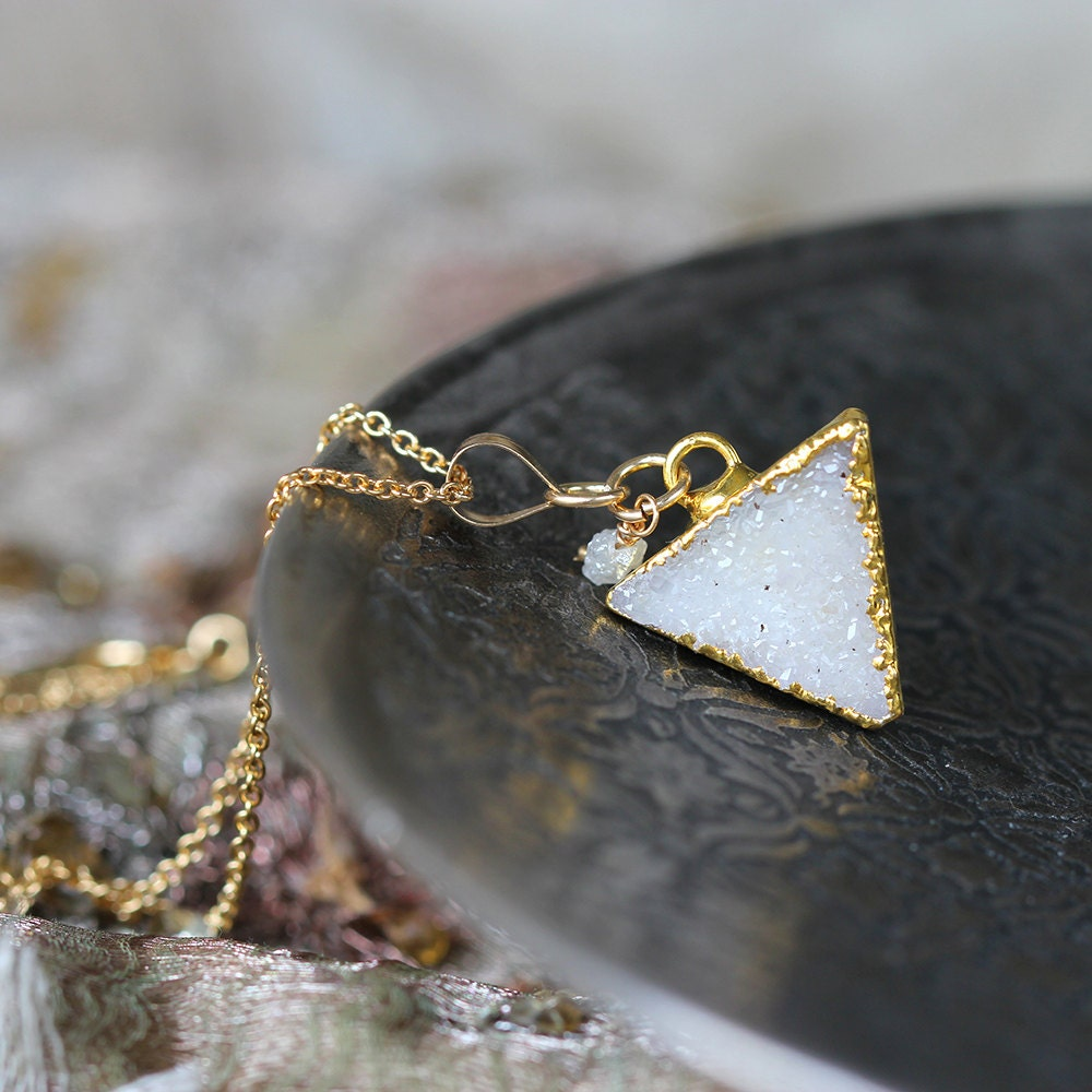 White Druzy and Diamond Necklace - Triangle Necklace - White Druzy Necklace - Geometric Necklace - LAST ONE