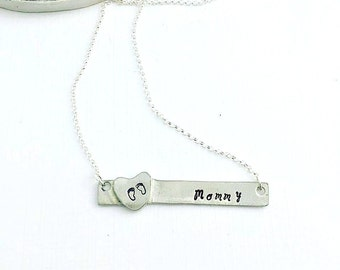 Mommy Bar Necklace -Personalized Necklace - Hand Stamped Jewelry - Sterling Silver Rectangle Bar Necklace - Name Necklace - Mothers Day Gift