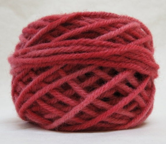 CRANBERRY, 100% Wool 2 ozs  43 yards 4-Ply Bulky weight or 3-ply Worsted weight yarn, already wound into cakes, ready to use, made to order.
