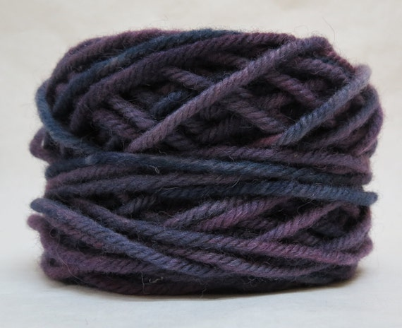 PLUM 100% Wool, 2 Ozs. 43 yards, 4-Ply Bulky weight or 3 -ply Worsted weight yarn, already wound into cakes, ready to use, made to order.