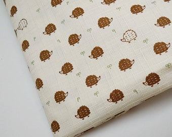 Brown Hedgehog Fabric, Tablecloth Fabric, Laminated Cotton Fabric, Waterproof Fabric, Animal Fabric, Bag, Totes,