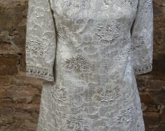 SILVER METALLIC BROCADE mini shift dress 1960's evening xs S