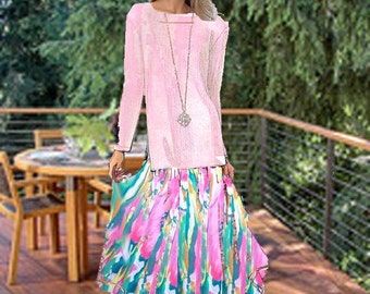 Maxi Chiffon Skirt Tunic Top Made To Meaurement