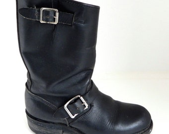 Vintage EASYRIDERS Nasty Feet Chippewa Engineer Motorcycle Biker BOOTS, Black Leather, Buckles, 1970s - 1980's, Women's Size 7, Made in USA