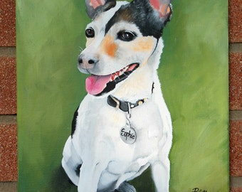 "10""x 14"" Custom dog portrait, custom pet painting, hand painted from your photo, dog art"