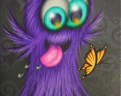 ORIGINAL PAINTING Fantasy Big Eye Furry Cute Monster Butterfly Love Pop Surrealism Lowbrow Cartoon Character Art Acrylic Natalie VonRaven
