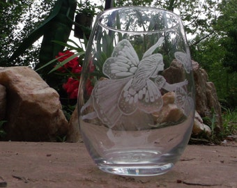 Fairy and butterfly stemless wine glass set of two clear glasses hand engraved