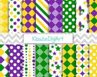 Mardi Gras Digital Printable Papers, Scrapbook , Fat Tuesday, Purple, Green, Gold, Harlequin, Fleur De Lis, Stars, Stripes, Dots - 0011