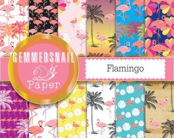 Flamingo digital paper, tropical pink flamingos, palm tree, summer digital paper backgrounds