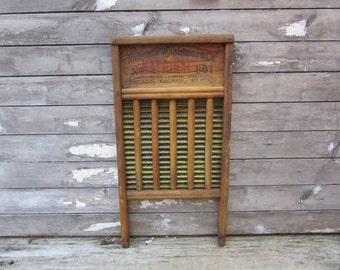Antique Primitive Wash Board National 801 Brass Old Fashion WashBoard Laundry Room Decoration Decor Rustic Farm Primitive Wood Metal Washing