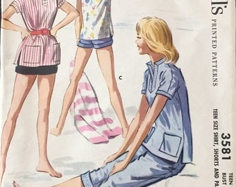 "Vintage 1956 McCall's Juniors' Misses' Shirt, Shorts and Pants Pattern 3581 Size 14 (32"" Bust)"