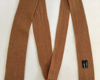 Vintage 1950s 60s Light Brown Tan Cotton Knit Skinny Necktie Tie