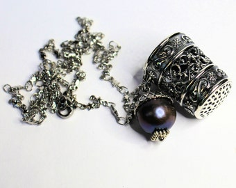 Peter Pan Thimble and Acorn Hidden Kisses Necklace Second Star Right