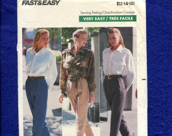 1980's Butterick 4250 Tapered Leg Pleated Pants Pattern Size 12..14..16 UNCUT