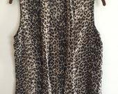 Vintage 1990s Animal Print Silk Blouse Button Down Medium Chetah Leopard