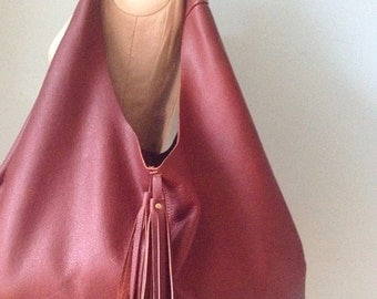 Brown leather hobo bag, tan leather slouch bag, leather tote