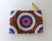 beaded bag, small beaded purse, change purse, card purse, beaded pouch
