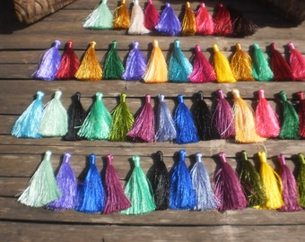 "Silky Tassels,Set Of 50, 2.5""inch To 3"" Luxury Tassels, Mixed Color Tassels, Wholesale Tassels, Necklace Tassel, Tribal Tassels"