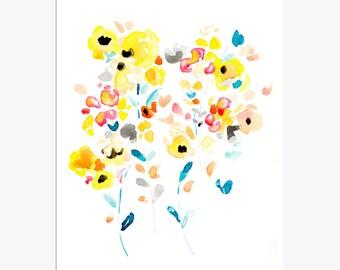 11x14 Print, Large Wall Art, Watercolor Flowers, Flower Artwork, Modern Art, Abstract Watercolor, Flower Art Print, Floral Print, Flora