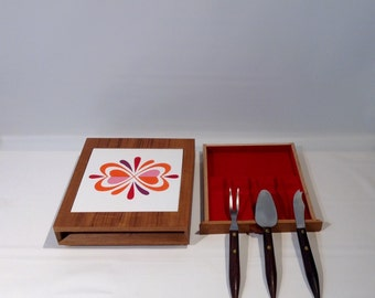 MCM Teak and Tile Cheese Board with Three Serving Pieces, Japan
