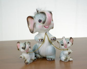 Mid Century Chained Elephant Family Made by Wale in Japan