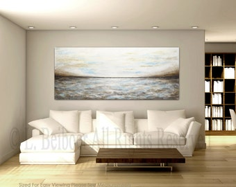 Massive abstract painting 30 x 72 large blue gray brown textured modern abstract contemporary landscape painting oil Free Shipping