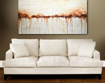 Original Abstract painting 24 x 48 modern acrylic painting umber contemporary abstract art ready to hang decor L.Beiboer