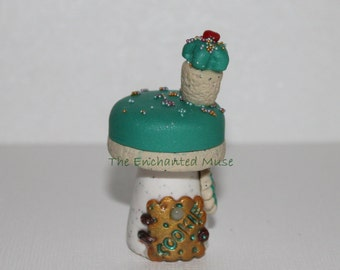 HALF OFF SALE Deliciously Sweet Turquoise Cupcake Fairy House