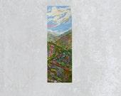 Long Vertical Original Landscape Palette Kinfe Painting, Spring, Expressionist Art, 4x12