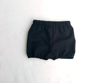 Black Shorts, Black Bloomers, Black Suiting Shorties, Black Diaper Cover, Cake Smash, Black Nappy Cover, Black Photo Prop, Infant Shorts