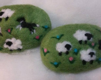 2 Bars of Felted Soap, Sheep &, Border Collie, Black White, Spring Decor, Lamb, Farm Animals, Herd Dogs