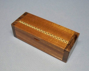 Mahogany and Figured Walnut Trinket Box, Bracelet Box, Necklace Box, Charm Bracelet Box,  Mahogany & Maple Inlay Box - Lacquer Finished
