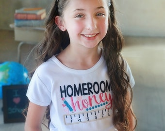 Homeroom Honey School Shirt - Embroidered School Shirt - Back To School Shirt for Girls