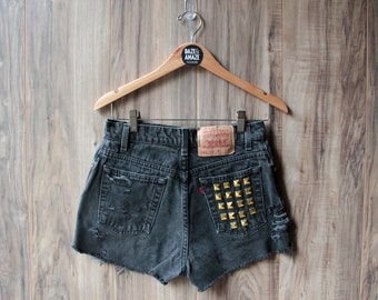 Levi high waist vintage denim shorts black | Studded denim shorts | Ripped distressed shorts | Gold studded shorts | Festival hipster shorts