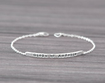 Two Name Bracelet - Sterling Silver Bar Bracelet - Couples Name Jewelry