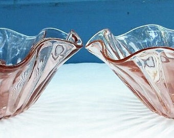Pink Ruffled Candle Holders/Pink Depression Glass Candle Display/Pink Glass Wedding Candlesticks