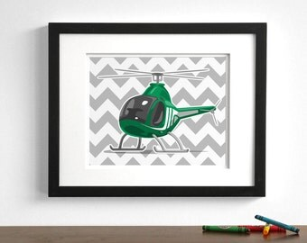 Childrens nursery airplane art - Helicopter wall art - pick your colors - boys nursery art print ilustrations