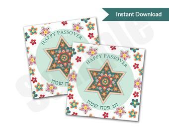 Passover Seder Star of David Card Tag PDF Printable
