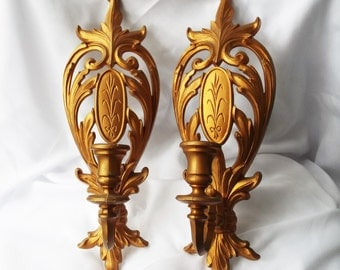 SYROCO Sconce Pair Vintage Wall Hanging Decor 4331 Ornate Wheat Design