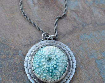 Large Sea Urchin pendant. Ceramic stone. Layered. Sterling Silver. Aqua Stone. Sea Life. Turquoise urchin.