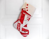SALE Christmas Stocking Holiday Stocking Traditional Christmas Stocking Crazy Quilt Patchwork Stocking Crazy Quilt Stocking